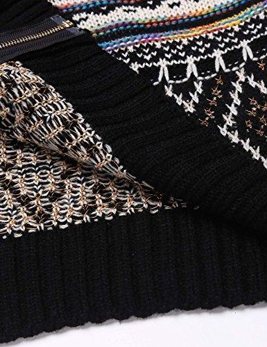 Chigant Damen Strickjacke Muster Dick Wolle Strick Warm Mäntel Kaputzepullover Outwear Festlich PAT1