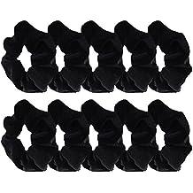 10 Pack Hair Elastics Velvet Scrunchie Cabello Bobbles Hair Bandas (Negro)