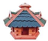 XXL Vogelhaus/Futterhaus , mit 3 x dekorative Dachgauben und Futterschacht / Silo, behandelt Futterhaus mit GRÜN moosgrün + GRAU Dach Bitumschindeln ,auch mit Ständer (als Zubehör erhältlich)