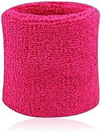 Hombres Mujeres Deportes Banda de sudor Tenis Squash Badminton tela de toalla muñeca bandas de sudor Baloncesto Gimnasio muñeca del Wraps Rosa roja 8cm*7.5cm