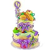 Vintage ♥ Windeltorte / Pamperstorte > Babygeschenk für Mädchen und Jungen in schönem Gelbton // Geschenk zur Geburt, Taufe, Babyparty // originelles und praktisches Geschenk für Babys