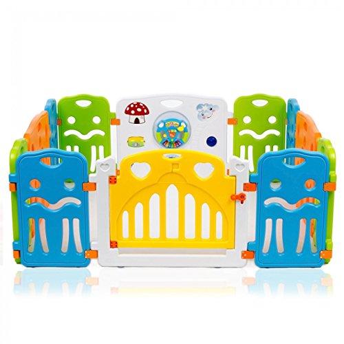 Baby Vivo Laufgitter Laufstall Baby Absperrgitter Krabbelgitter Schutzgitter für Kinder aus Kunststoff mit Tür und Spielzeug - COLORS XL erweiterbar - Modell 2018 - 4