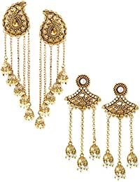 Zaveri Pearls Combo of Two Tassels with Dome-Shaped Jhumki Earring for women-ZPFK6507