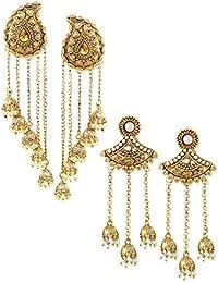 Zaveri Pearls Jhumki Earrings for Women (Golden) (ZPFK6507)
