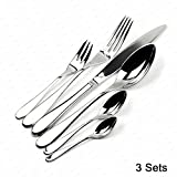 Schindora® 18 Pcs Stylish Kitchen Stainless Steel Cutlery Set Tableware Dining Utensils