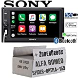 Alfa Romeo 159 Spider Brera Navi - Autoradio Radio Sony XAV-AX1000-2DIN Bluetooth | Apple CarPlay | USB - Einbauzubehör - Einbauset