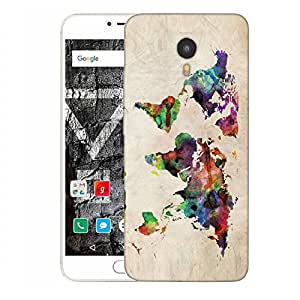 Snoogg Paint World Map Designer Protective Back Case Cover For YU YUNICORN