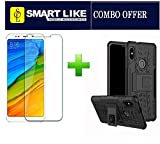 #4: Redmi Note 5 Pro TEMPERED GLASS + 1 Kick Stand Spider Hard Dual Shock Proof Rugged Bumper DAZZLE Back Case Cover (COMBO PACK) by SmartLike
