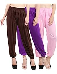 Jollify Solid Cotton lycra Harem Pants(pack up3) brown purpel pink
