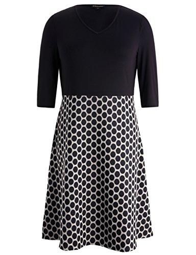 Chicwe Damen V-Ausschnitt Schwarz Mieder Große Größen Kleid mit Punkt A-Line Rock Schwarz 4X (Black Rock-karriere)