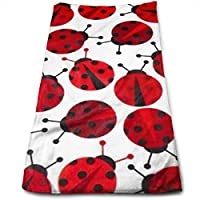 ewtretr Toallas De Mano,Red Ladybugs Kitchen Towels - Dish Cloth - Machine Washable Cotton