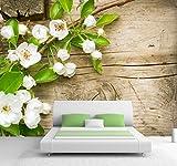 B-wie-Bilder.de Vlies XXL Poster Fototapete Tapete Natur & Blumen Apfel Blüte in weiß auf Holz Material Vlies ohne Kleber, Größe 300 x 220 cm 3-TLG