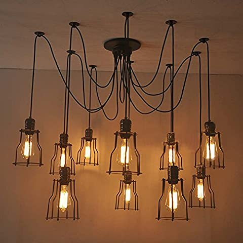 BAYCHEER Vintage Ceiling Lamp Hanging Lighting Edison Multiple Adjustable DIY Ceiling Spider Lamp Light Metal Wire Cage Pendant Lighting Chandelier Modern Chic Industrial Dining Light (6 head)