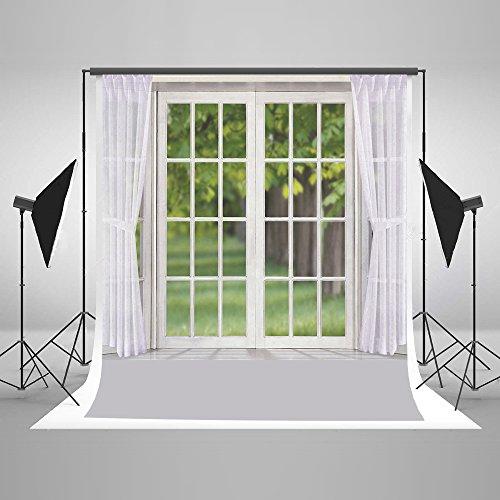KateHome PHOTOSTUDIOS 1,5x2,2m Weiße Innenräume Fotografie Hintergrund Mikrofaser Grüne Bäume Fenster Fotohintergrund Hochzeit Baby...