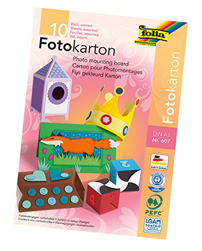 folia 607 - Fotokartonblock, DIN A3, 10 Blatt, farbig sortiert - die ideale Grundlage für vielfältige Bastelideen -