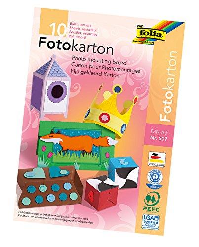 farbpapier folia 22903204 - Fotokartonblock A3 10Bl 300g, farbig sortiert