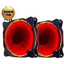 EasyDiy LED rouge PWM 120mm silencieux Ventilateur pour boîtiers d'ordinateurs, Refroidisseurs CPU, ultra silencieux et Radiateurs Computer Case Fan Haute Airflow, Twin Pack