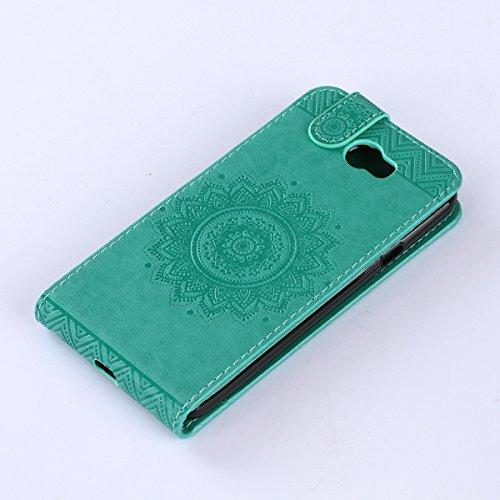 Étui en cuir PU pour Huawei Y5 II,Vertical Pliable Rabat Shell pour Huawei Y5 2,Huawei Y5 II Flip Cover,Ekakashop Etui avec Motif de Rose Mandala Retro Tendance Style Portable Coque de Protection Magn Vert