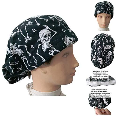 Hüte OP-Kappen Skelette für langes Haar, Chirurgie, Zahnarzt, Tierarzt, Küche usw. Handtuch vorne, mit Spanner nach Geschmack verstellbar, passt sich allen Haaren an (Tierarzt Caps)