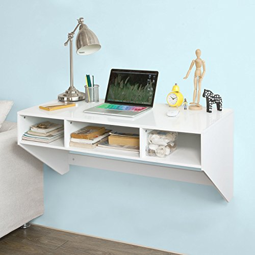 SoBuy® FWT14-W Table murale Table de cuisine Bureau informatique avec 3 compartiments -Blanc
