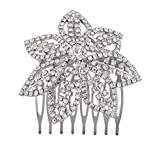 Lux Accessories Silvertone and Pave Bling Flower Bride Bridal Metal Hair comb pin