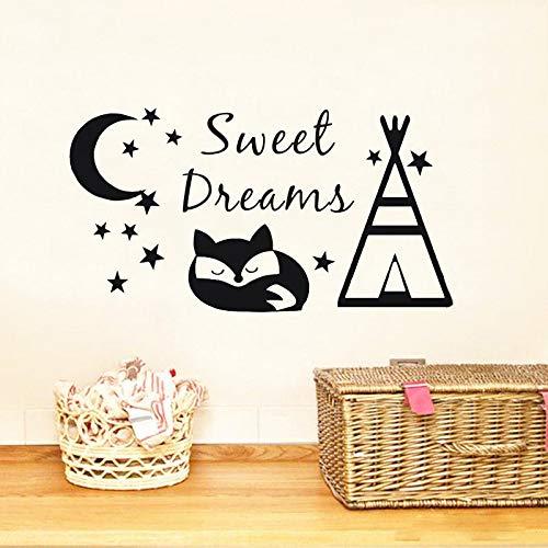 sanzangtang Sweet Dream konische Zelt und Fuchs Schlafzimmer Wandaufkleber für Kinder Baby Vinyl Kunst abnehmbare Design Poster Wandbild 42x78cm