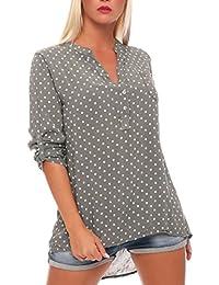 319cdcbd8dd3 Malito Damen Bluse mit Punkten   Tunika mit ¾ Armen   Blusenshirt auch  Langarm tragbar