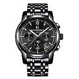 Reloj de Cuarzo para Hombre con Correa de Acero Inoxidable Resistente al Agua 30 m con cronógrafo y Calendario de Moda para Hombres(Dorado)