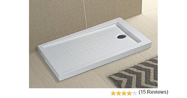 80x150 cm Piatto doccia in acrilico bianco ultraflat h.5cm completo di piletta scarico MILO