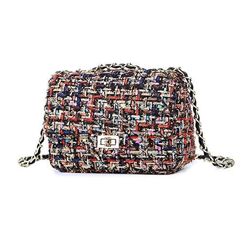 GMYANDJB Umhängetasche Tweed Frauen Luxus Handtasche Plaid Kette Schultertasche Damen Mini Flap Gesteppte Corssbody Tasche BlackMix 26 -