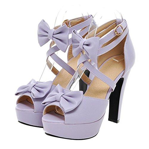 UH Femmes Sandales Bride Cheville Peep Toe avec Noeuds Cuir Elegantes Douce à Talons Haut Bloc Violet