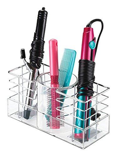 mDesign Organizador para cuidado de cabello - Caja organizadora con tres divisiones para guardado de peines, cepillos, planchas para alisado, rizadoras, secador - cromo/transparente