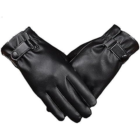 Hombres otoño cuero lavado con agua de invierno al aire libre ciclismo guantes protección Coldproo motocicleta guantes de