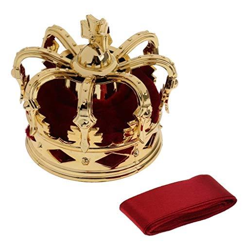 Kostüm Haar Königin - Kopfbedeckungen Elegante Dame Frauen Mini Königin Krone Tiara Hut Haar Kostüm Stirnband Party Zubehör (Color : Wine Red)