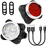 Rechargeable LED Bike Lights Set,Yica Bike Headlight Taillight Combinations LED Bicycle Light Sets (650mah Lithium Battery, 4 Light Mode Options, 2 USB cables)Front and Rear Bicycle Light Set