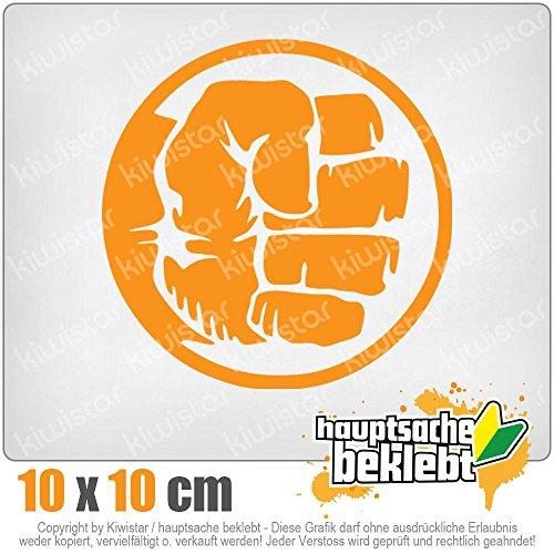 KIWISTAR Hulk Fist Logo 10 x 10 cm IN 15 FARBEN - Neon + Chrom! Sticker Aufkleber (Hulk Neon)