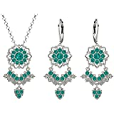 Lucia Costin Silver, Turquoise - Green Swarovski Crystal Jewelry Set, Fabulous