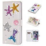 futypei für Doogee Y8 Hülle, Leder Flip Case mit Standfunktion &Kartenfach Magnetisch Ledertasche Handyhülle Schutzhülle Tasche Brieftasche Etui für Doogee Y8 Seestern