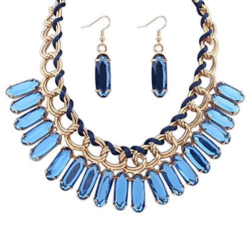 ZPXLGW Exagérée Mode Personnalité Gouttelettes D'eau Douce Tissée Collier Boucles D'oreilles Suit blue