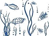 GRAZDesign 650078_30_052 Wandtattoo Unterwasserwelt/Fische/Aquarium | Badezimmer-Tattoo an die Wand/Fliesen/Spiegel (40x30cm//052 azurblau)