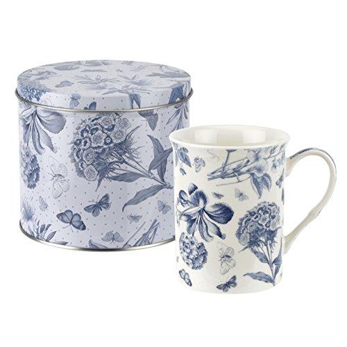Botanic blau Becher und Zinn Set, Porzellan, Blau und Weiß, 13x 13x 11,5cm -