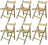 Chaises en bois pliantes - couleur bois naturel - lot de 6