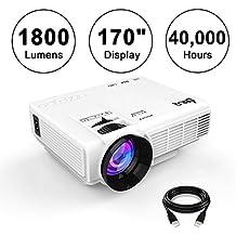 """Mini Proiettore LCD 1800 Lumen Display 170"""", Supporto 1080P, Interfaccia VGA / HDMI / AV / USB / TF, Connessione a Fire TV Stick / Console Giochi / iPhone (iPad) / Laptop / MacBook / TV, proiettore Home Cinema leggero e silenzioso con cavo HDMI e AV , bianco."""