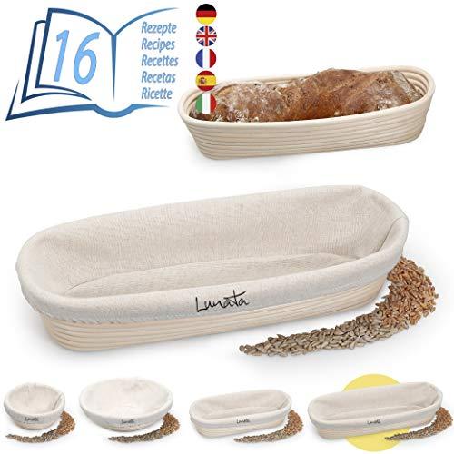 Lunata (Upgrade 2019 Gärkörbchen inkl. Rezeptbuch als E-Book mit 16 leckeren Backrezepten - Der ideale Gärkorb für Brotteig aus natürlichem Peddigrohr (oval | 35 cm) - mit Leineneinsatz