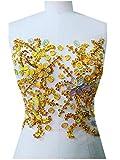 Hecho a mano de coser en parches de diseño con brillantes de cristal con piedras y lentejuelas dorado 31* 27cm para vestido de mujer