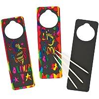 Baker Ross Adornos para rascar y colgar en la puerta - scratch art kits de artesanía para niños (pack de 10)