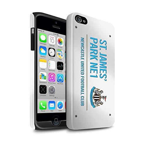 Officiel Newcastle United FC Coque / Brillant Robuste Antichoc Etui pour Apple iPhone 4/4S / Pack 6pcs Design / St James Park Signe Collection Blanc/Bleu