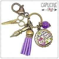 Porte clés - bijou de sac Maîtresse - Bronze et cabochon verre illustré Une Maîtresse Super Chouette - idée cadeau maîtresse, cadeau fin d'année scolaire