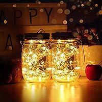 infinitoo Solar String Light 40 LED Mason Jar Lights Starry Star Fairy Solar Lights Waterproof Glass Jars Garden Hanging Lights for Lantern Table Garden Wedding Party Decor(Warm White 2 Pack) …