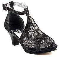 Sarıkaya 574 Siyah Abiye Taşlı Boy 4,5Cm Topuklu Kız Çocuk Ayakkabı